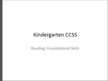 Kindergarten Reading CCSS in Pictures