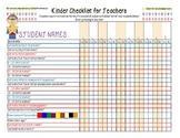 Kindergarten Reading Checklist - Up to 10 Students