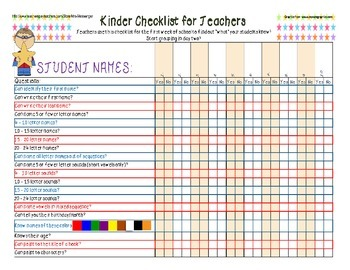 Kindergarten Reading Checklist - Up to 10 Students