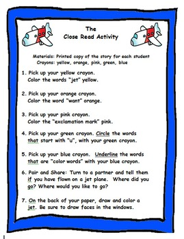 Kindergarten : Close Reading, Comprehension and Fluency on Transportation Theme