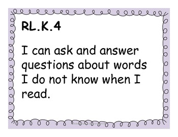 Kindergarten Reading Common Core Standards for Posting - Purple Theme