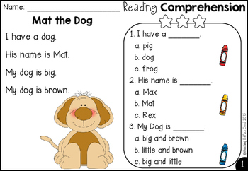 Free Kindergarten Reading Comprehension and Questions by Teaching ...