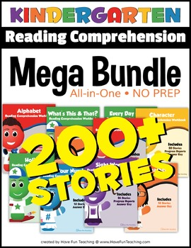 Kindergarten Reading Comprehension NO-PREP ALL-IN-ONE MEGA BUNDLE (200+ STORIES)