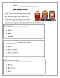 Kindergarten Reading Comprehension Passage with multiple choice question