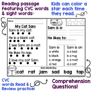Kindergarten Reading Comprehension Passages by Sweet Sounds of ...