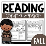 Kindergarten Reading Comprehension Passages - FALL