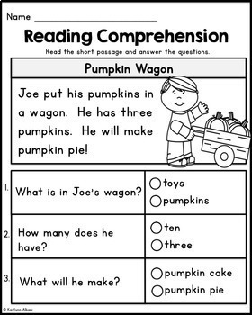 Kindergarten Reading Comprehension Passages - Fall Edition by ...
