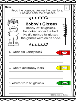 Kindergarten Reading Comprehension Passages-Freebie