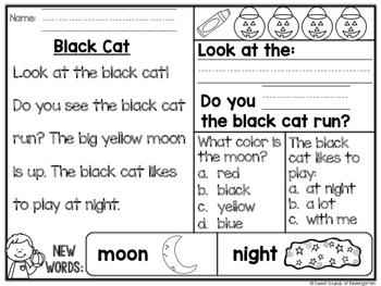 Kindergarten Reading Comprehension Passages {Halloween}