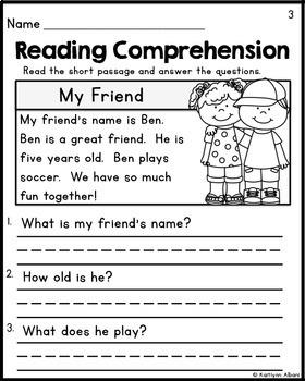 kindergarten reading compre by kaitlynn albani