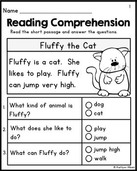 Kindergarten Reading Comprehension Passages - Set 1 FREEBIE by ...