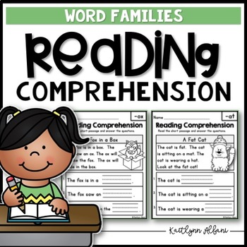 Reading Comprehension Passages Word Families By Kaitlynn