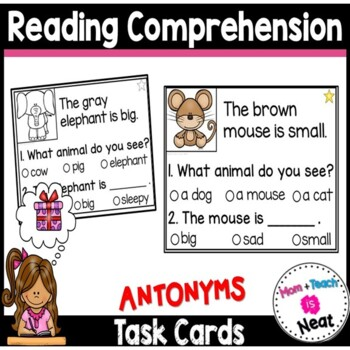 Kindergarten Reading Comprehension Task Cards- Antonyms