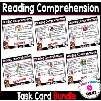 Kindergarten Reading Comprehension Task Cards- BUNDLE