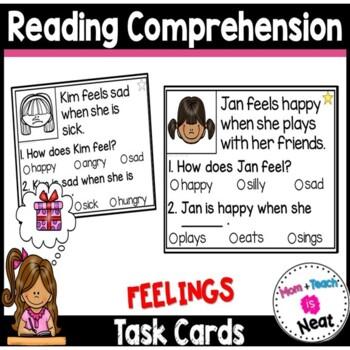 Kindergarten Reading Comprehension Task Cards- Feelings