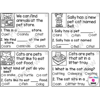Kindergarten Reading Comprehension Task Cards- Pets by Mom Plus ...