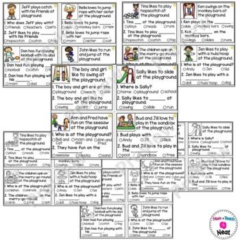 Kindergarten Reading Comprehension Task Cards- Playground