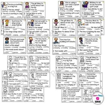Kindergarten Reading Comprehension Task Cards- Verbs