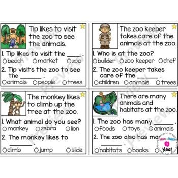 Kindergarten Reading Comprehension Task Cards- Zoo