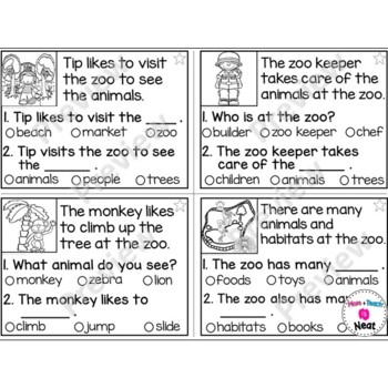Kindergarten Reading Comprehension Task Cards- Zoo by Mom Plus ...