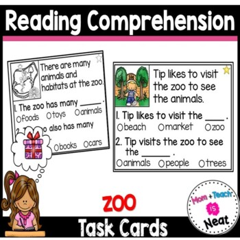 Kindergarten Reading Comprehension Task Cards- Zoo