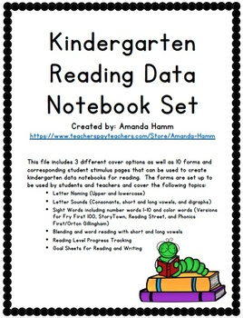 Kindergarten Reading Data Notebook *Forms for Student Data, Tracking, and Goals*