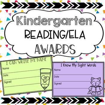 Kindergarten Reading/ELA Awards