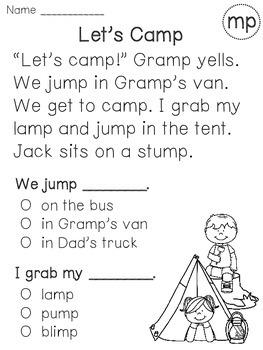 Ending Blends Reading Fluency and Comprehension Passages