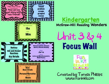 Kindergarten Reading Focus Wall supports Unit 3 and 4 of McGraw Hill Wonders