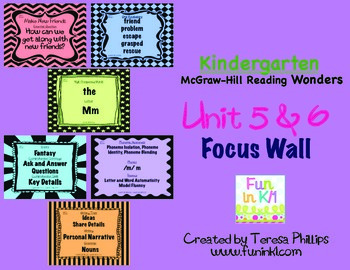 Kindergarten Reading Focus Wall supports Unit 5 and 6 of McGraw Hill Wonders