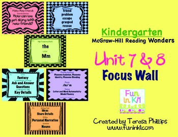 Kindergarten Reading Focus Wall supports Unit 7 and 8 of McGraw Hill Wonders