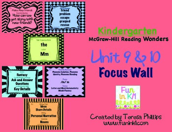 Kindergarten Reading Focus Wall supports Unit 9 and 10 of McGraw Hill Wonders