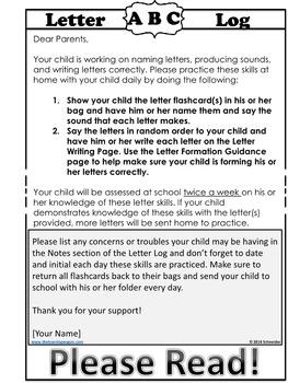 Kindergarten Reading Folder: Letter Log (Names, Sounds, and Handwriting)