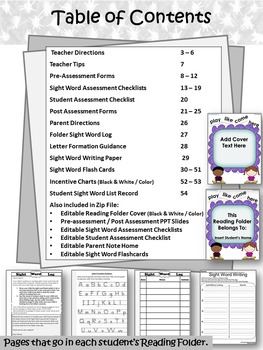 Kindergarten Reading Folder: Sight Word Log (All 220 Dolch Sight Words)
