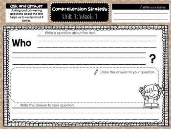 Kindergarten Reading Graphic Organizers (Unit 2, Week 1)