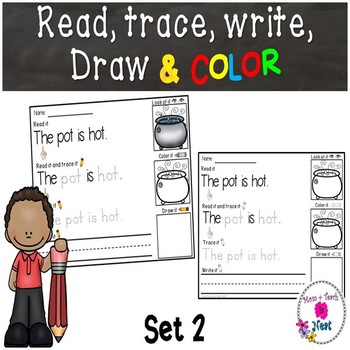 Kindergarten Reading & Handwriting Worksheets- Set 2