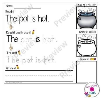 Kindergarten Reading & Handwriting Worksheets- Set 2