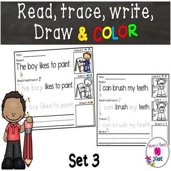 Kindergarten Reading & Handwriting Worksheets- Set 3