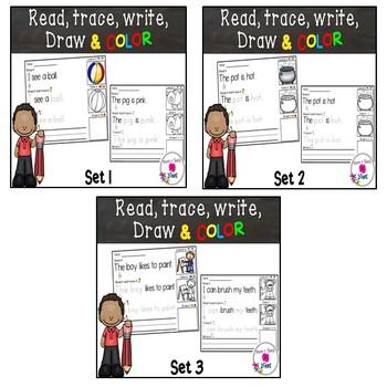 Kindergarten Reading & Handwriting Worksheets- BUNDLE 1 Sets 1-3