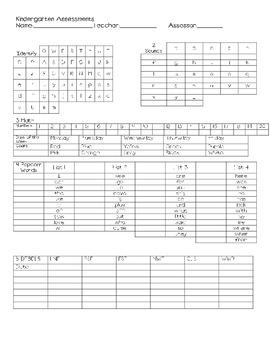 Kindergarten Reading Intervention Binder Sheet