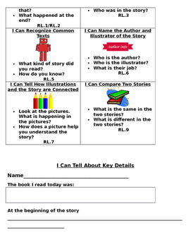 Kindergarten Reading Literature Task Menu