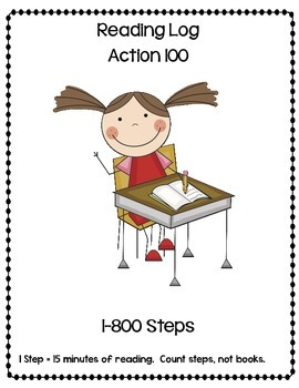 Kindergarten Reading Log Sheet 1-800 Steps