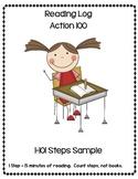Kindergarten Reading Log Sheet Sample Action 100