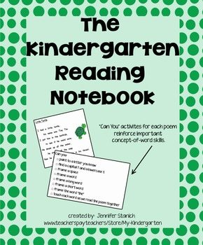 Kindergarten Reading Notebook