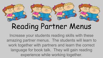 Kindergarten Reading Partner Menu