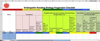 Kindergarten Reading Progression and Checklist (Tracker)