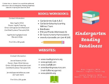Kindergarten Reading Readiness Brochure-FREEBIE