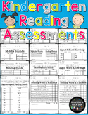 No Prep Kindergarten Reading Readiness Assessment Data Sheets (Common Core)