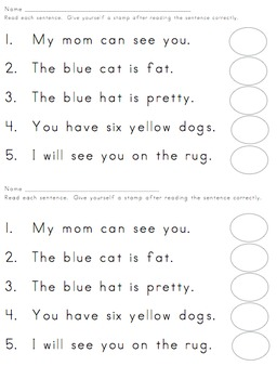 simple sentences for kindergarten to read pdf