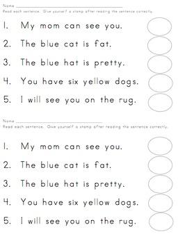 Kindergarten Reading Sentences for Groups